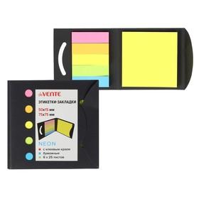 Закладки с клеевым краем (стикеры), бумажные 15 х 50 мм, 75 х 75 мм, 6 цветов х 25 листов deVENTE Neon, крафтовая упаковка