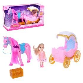 Карета для кукол, лошадь ходит, с куклой, свет, звук, МИКС