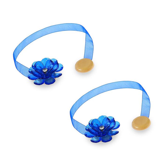 Подхваты для штор «Цветок», d = 5 см, 2 шт, цвет синий