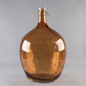 Бутыль стеклянный «GJA. Марани», 25 л, с фарфоровой крышкой с бугельным замком, цвет коричневый