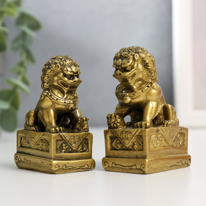 """Нэцкэ под бронзу (набор 2шт) """"Собаки Фу"""" (китайские львы Будды) - фото 9117716"""