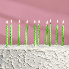 """Свечи в торт """"Спираль"""", 6 см, зелёные, набор 10 шт"""