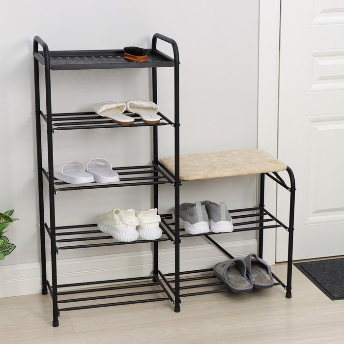 Банкетка-этажерка для обуви «Дубль», 5 полок, цвет чёрный