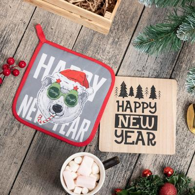 "Kitchen set ""Happy new year"" stand, potholder"