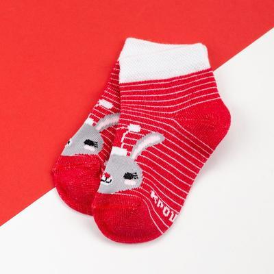 """Socks baby I """"Bunny"""", red, 6-8 cm"""