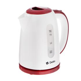Чайник электрический DELTA DL-1106, 2200 Вт. 1.7 л, пластик, бело-бордовый