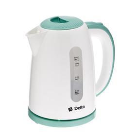 Чайник электрический DELTA DL-1106, 2200 Вт. 1.7 л, пластик, бело-зеленый
