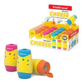 """Точилка 2 отверстия с контейнером ErichKrause """"Cheese"""" микс 50143"""