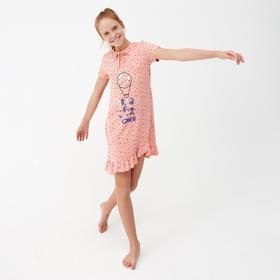 Сорочка для девочки, цвет персик, рост 134-140 см