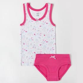 Комплект (майка, трусы) для девочки, цвет белый/розовый, рост 92-98 см