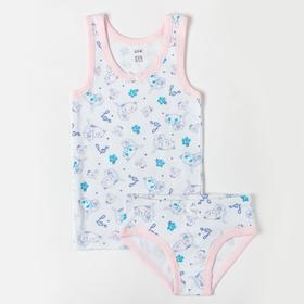 Комплект (майка, трусы) для девочки, цвет белый/светло-розовый, рост 116-122 см