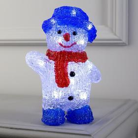 """Фигура акрил. """"Снеговик в синей шляпе"""" 20х13х8 см, 2хАА (не в компл.), БЕЛЫЙ"""