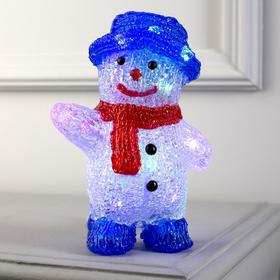 """Фигура акрил. """"Снеговик в синей шляпе"""" 20х13х8 см, 2хАА (не в компл.), МУЛЬТИ (RGB)"""