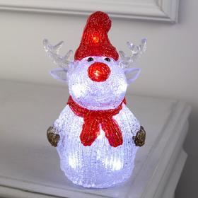 """Фигура акрил.""""Оленёнок в красной шапке"""" 25х7х7 см, 2хАА (не в компл), 10 LED, БЕЛЫЙ"""