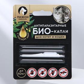 """Антипаразитарные БИОкапли """"Пижон Premium"""" с маслом ним для котят и кошек, до 10кг, 1мл"""