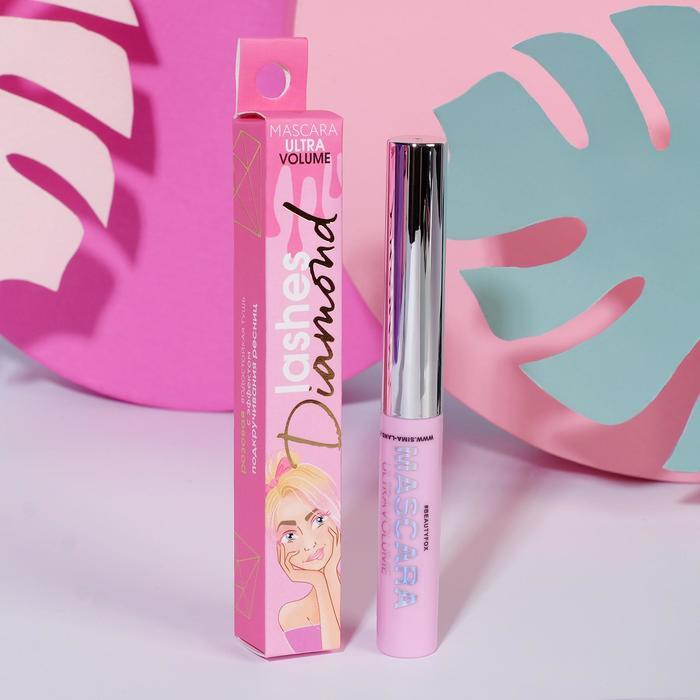 Водостойкая розовая тушь с эффектом умножения и подкручивания ресниц Diamond lashes