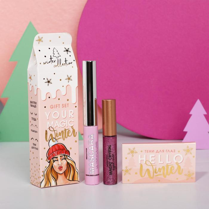 Набор Your Magic Winter, розовая тушь для ресниц, глиттерая подводка №4 и тени (2 цвета)
