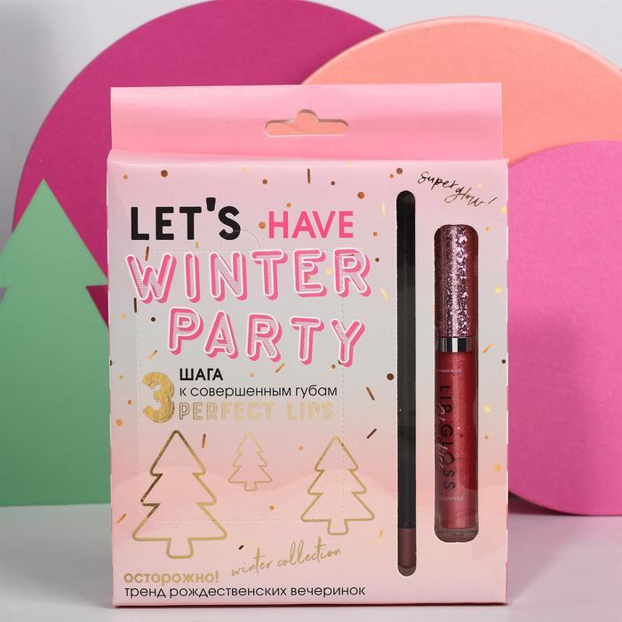 Набор Let's Winter Party (патчи, жидкая помада и карандаш для губ)