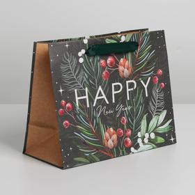 Пакет крафтовый горизонтальный Happy New Year, MS 23 × 18 × 10 см