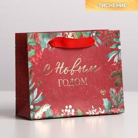 Пакет крафтовый горизонтальный «Новогоднее настроение», S 15 × 12 × 5.5 см