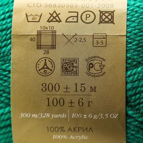 """Пряжа """"Акрил"""" 100% акрил 300м/100гр (511-Зелёнка) - фото 7463449"""