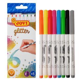 """Фломастеры 8цв JOVI """"Glitter"""", с блестками, смываемые, картон, европодвес 1608G"""