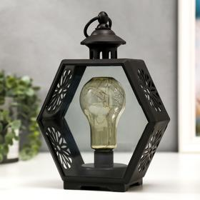 """Ночник """"Фонарь лофт"""" LED от батареек 3хААА черный 9,8х17,5х25 см"""