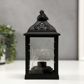"""Ночник """"Фонарь"""" LED от батареек 3хААА черный 11х11х21 см"""