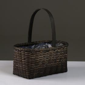Корзина плетеная (ротанг), 27,5х16,5хН11/28 см, черный