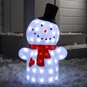 """Фигура акрил. """"Снеговик в шляпе"""", белый, 60х25х25 см, 220V, БЕЛЫЙ"""