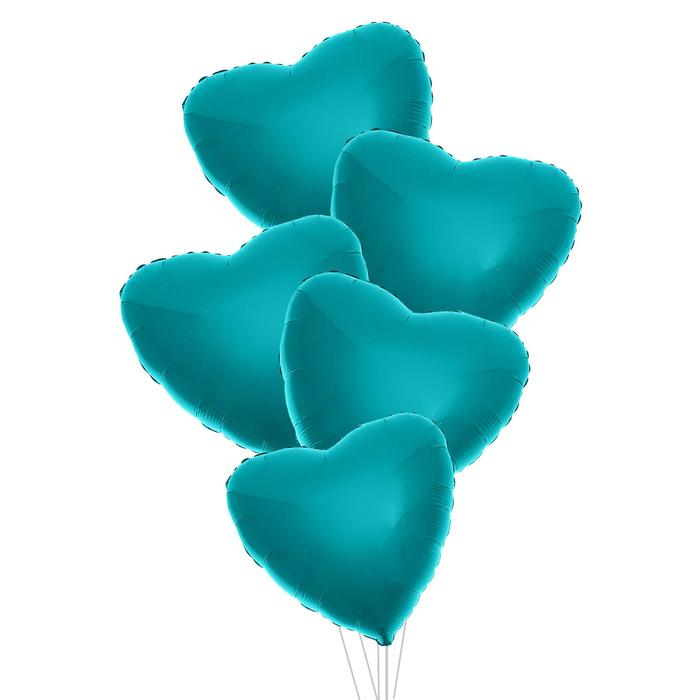 """Шар фольгированный 24"""" «Сердце», набор 5 шт., цвет голубой - фото 7639794"""