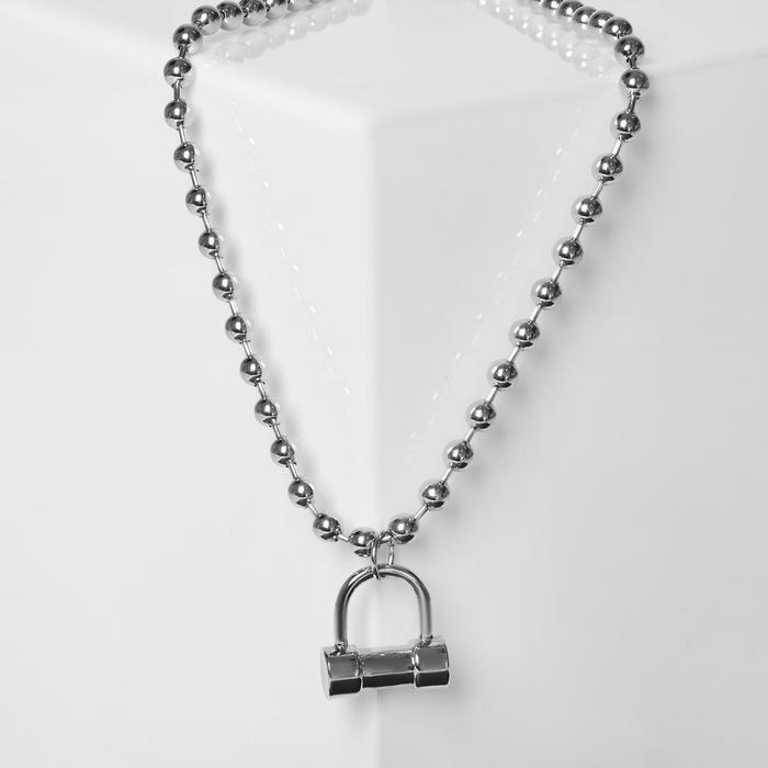 """Кулон """"Цепь"""" гантелька, цвет серебро, L=40 см"""