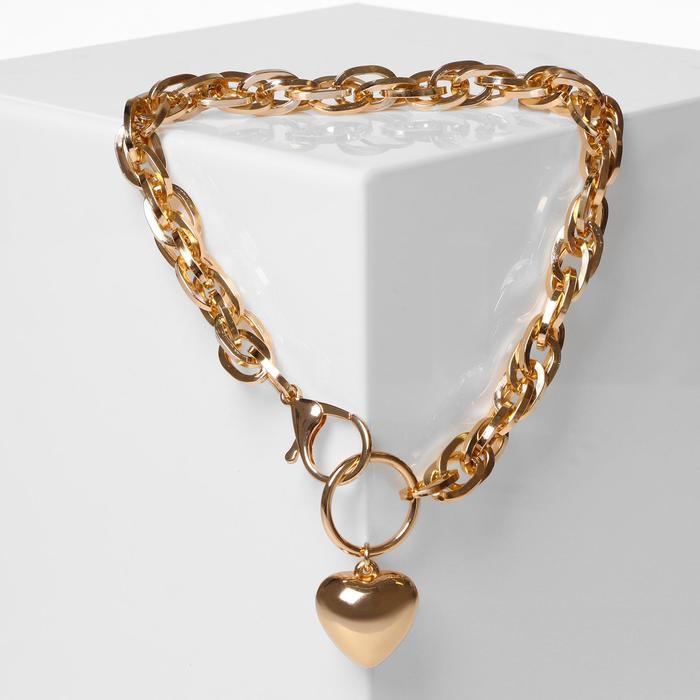 "Кулон ""Цепь"" объёмное сердце с карабином, цвет золото, L=42 см"