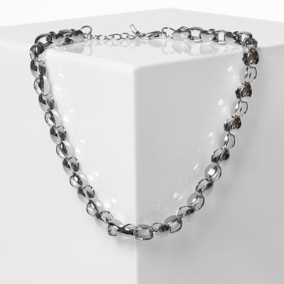 Sphere chain necklace, color gray metal