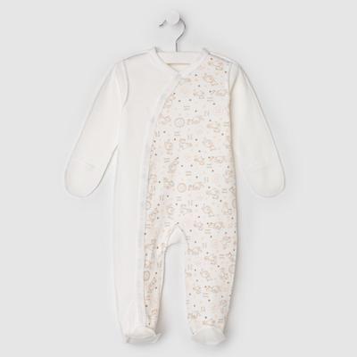 Комбинезон детский, цвет молочный/принт микс, рост 68 см