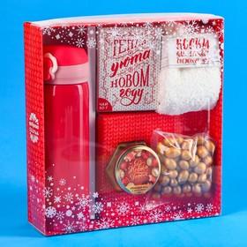 Подарочный набор «Тепла и уюта»: чай 50 г, крем-мед 120 г, носки 36-39 р, термос 500 мл, арахис в глазури 100 г