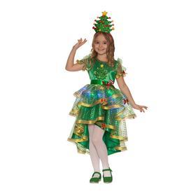 Карнавальный костюм «Ёлочка лучистая», платье, головной убор, р. 30, рост 116 см