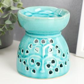"Aroma lamp ceramic ""Tree with hearts"" blue 11,2x10x10 cm"