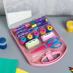 Набор фигурных дыроколов+ножницы+маркеры набор 14 предметов в сундучке