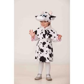 Карнавальный костюм «Коровка Пятнашка», накидка, юбка, шапка, р. 28, рост 110 см, цвет чёрно-белый