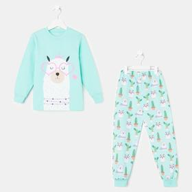 Пижама для девочки, цвет мятный, рост 92 см