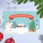 """Napkin on the table """"Happy New Year!"""" goby, winter house, 40 x 25 cm"""