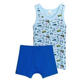 Комплект для мальчиков из майки и трусов, рост 110-116 см, цвет голубой, синий
