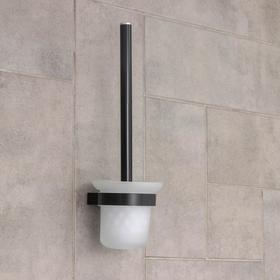 Ёрш для унитаза с подставкой настенный Accoona, 11×11×36 см, цвет чёрный