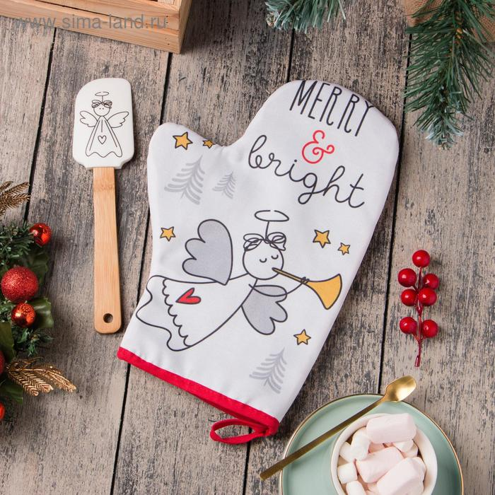 """Gift set """"Merry&bright"""" with the glove with an oven MITT"""