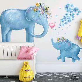 """Наклейка пластик интерьерная """"Голубые слоны"""" 60х90 см"""