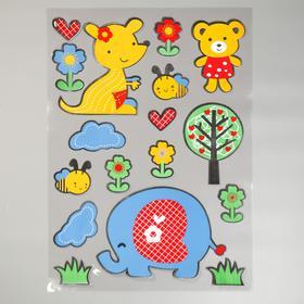 "EVA sticker ""Baby elephant and his friends"" 79x49 cm"