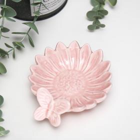 """Подсвечник керамика 1 свеча """"Гербера с бабочкой"""" розовый 4х11,5х10 см"""