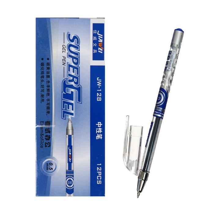 Ручка гелевая, 0.5 мм, синяя, Super, игольчатый пишущий узел