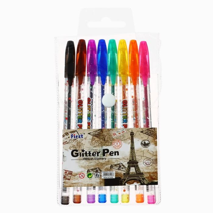 Набор гелевых ручек, 8 цветов, металлик, в блистере - фото 554534557